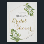 "Bridal Shower welcome sign | greenery and gold<br><div class=""desc"">Bridal Shower welcome sign greenery and gold poster. Find matching items in our shop or contact us.</div>"
