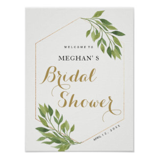 Bridal Shower welcome sign   greenery and gold
