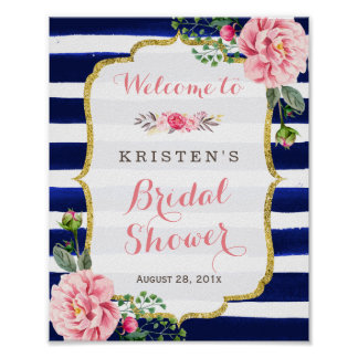 Bridal Shower Welcome Sign Pink Floral Navy Stripe