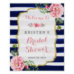 Bridal Shower Welcome Sign Pink Floral Navy Stripe Poster