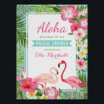 "Bridal Shower Welcome Sign | Tropical Flamingo<br><div class=""desc"">Wedding bridal shower welcome sign / poster features two pretty pink flamingos with a lush frame of green palm leaves and tropical hibiscus flowers in shades of hot pink, sunshine yellow, and white. Stylish Aloha text with aqua blue banner title can be fully-personalized for your event and the bride-to-be&#39;s name....</div>"