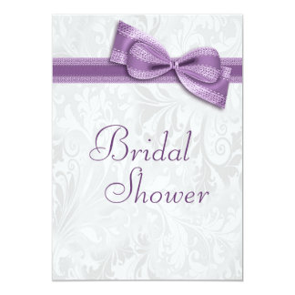 Bridal Shower White Damask and Faux Purple Bow Card