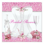 Bridal Shower White Pink Cupcakes Champagne Invites
