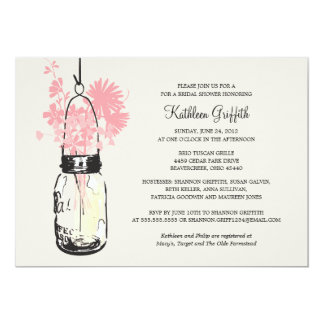 Bridal Shower Wildflowers & Mason Jar 5x7 Paper Invitation Card