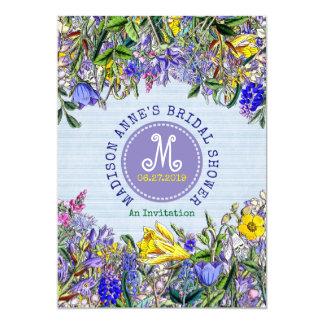 Bridal Shower Wildflowers Monogram Vintage Floral Card