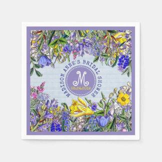 Bridal Shower Wildflowers Monogram Vintage Floral Paper Napkin