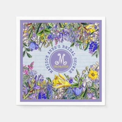 violet floral wedding paper napkin zazzlecom
