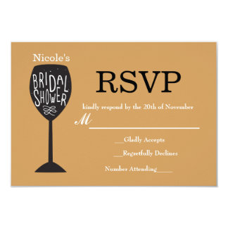 BRIDAL SHOWER Wine Glass ANY COLOR RSVP Card