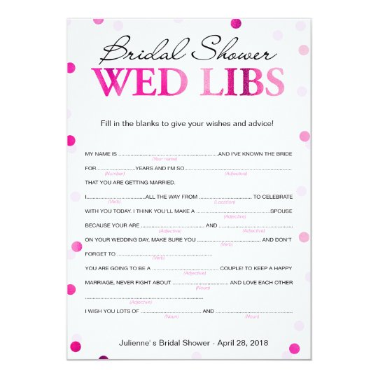 bridal shower wishes and advice magenta game invitation