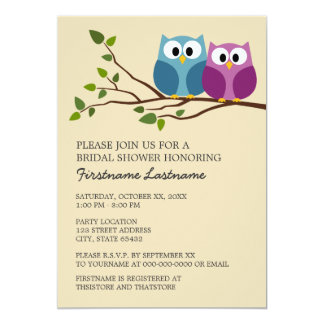 Bridal Shower with Owl Couple on Branch Card