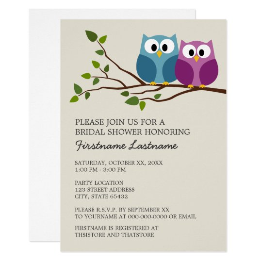 Bridal Shower With Owl Couple On Branch Invitation