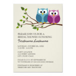 Bridal Shower with Owl Couple on Branch 5x7 Paper Invitation Card