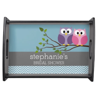 Bridal Shower with Owl Couple on Branch Serving Trays