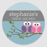 Bridal Shower with Owl Couple on Branch Classic Round Sticker