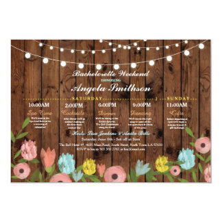 Bridal Shower Wood Floral Itinerary Bachelorette Card