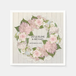 Bridal Shower Wooden Lace Hydrangea Roses Wreath Napkin