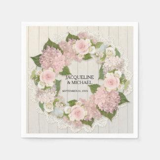 Bridal Shower Wooden Lace Hydrangea Roses Wreath Napkin