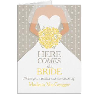 Bridal shower yellow memories keepsake card