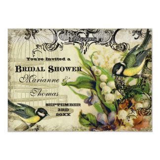 Bridal Shower, Yellow Song Bird Cage Swirl Floral Announcements