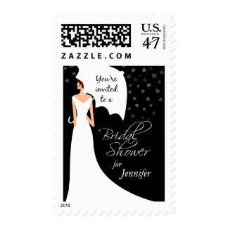 Bridal Shower -You're Invited - Black and White Postage