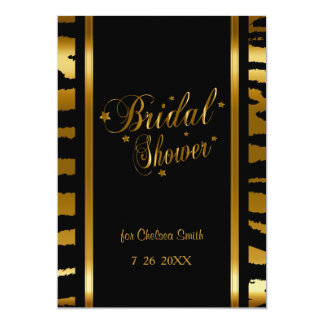 Bridal Shower - Zebra Stripes With Gold Lettering Card