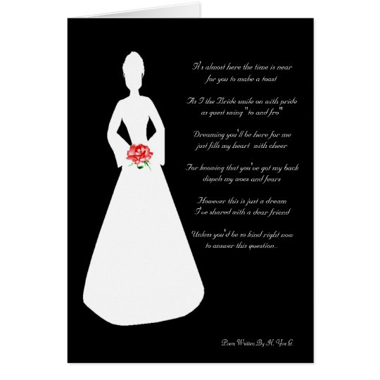 Bridal Silhouette Will You Be My Bridesmaid Black Card