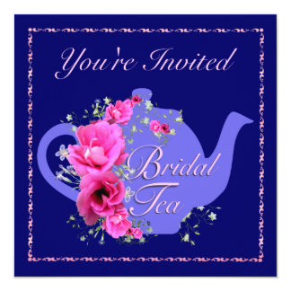 Bridal Tea Invitations Teapot and Pink Flowers
