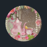 "Bridal Tea Party Bridal Shower Paper Plate<br><div class=""desc"">Beautiful bridal shower paper plates with pretty pink tea service on a beautiful pink rose and pearl background. You can personalize these beautiful bridal shower paper plates by adding text in the font style of your choice. This is a printed design with no real pearls,  glitter,  etc.</div>"