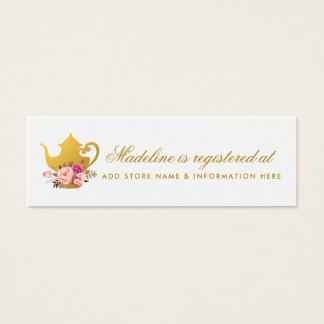 Bridal Tea Party Pink Gold Registry Insert Card