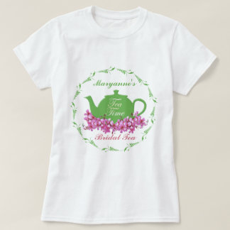 Bridal Tea Pink Flowers Green Teapot T-Shirt