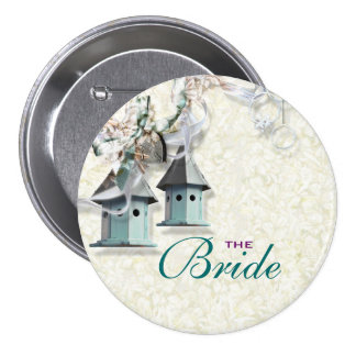 Bridal teal taupe bird floral country pinback buttons
