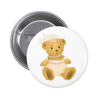 Bridal Teddy Bear 2 Inch Round Button