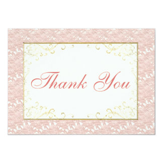 Bridal Thank You card Pink lace, Ivory, Gold