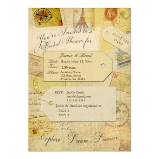 Bridal Travel Shower theme in cocoa and cream Card