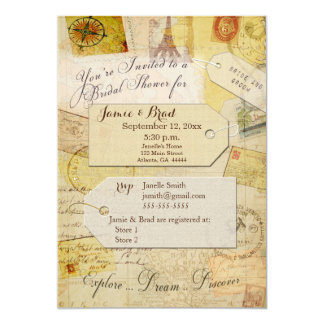 Bridal Travel Shower theme in cream and tan Card