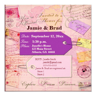 """Bridal Travel Shower theme in pink and purple 5.25"""" Square Invitation Card"""