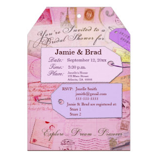 Bridal Travel Shower theme in pink and purple Custom Announcements