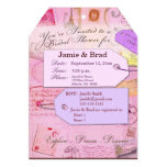 Bridal Travel Shower theme in pink and purple 5x7 Paper Invitation Card
