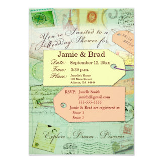 Bridal Travel Shower theme in seafoam and coral 5x7 Paper Invitation Card