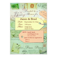 Bridal Travel Shower theme in seafoam and coral Card
