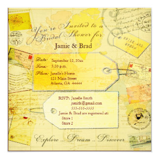 "Bridal Travel Shower theme 5.25"" Square Invitation Card"