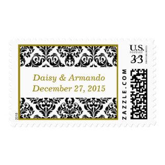 Bridal Unique Damask Dark Yellow Postage Stamp