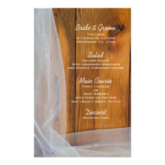 Bridal Veil and Barn Wood Country Wedding Menu Personalized Stationery