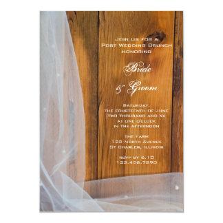 Bridal Veil Barn Wood Country Post Wedding Brunch 5x7 Paper Invitation Card