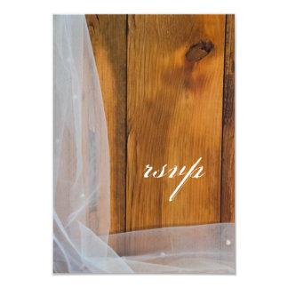 "Bridal Veil Barn Wood Country Wedding RSVP Card 3.5"" X 5"" Invitation Card"