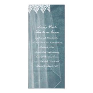 "Bridal Veil Blue Silk Tall Wedding Invitation 4"" X 9.25"" Invitation Card"