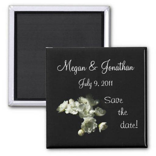 Bridal Veil Floral Save the Date Magnet