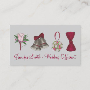 Bridal Wedding Bell Fl Bow Pastor Officiant Business Card