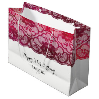 Bridal Wedding Birthday Burgundy Ruby Pink Lace Large Gift Bag