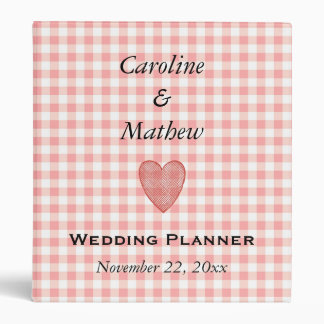 Bridal Wedding Planner Country Pink Check Love Binder
